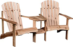 Outsunny Wooden Outdoor Double Adirondack Chairs with Center Table and Umbrella Hole, Perfect for Lounging and Relaxing, Natural
