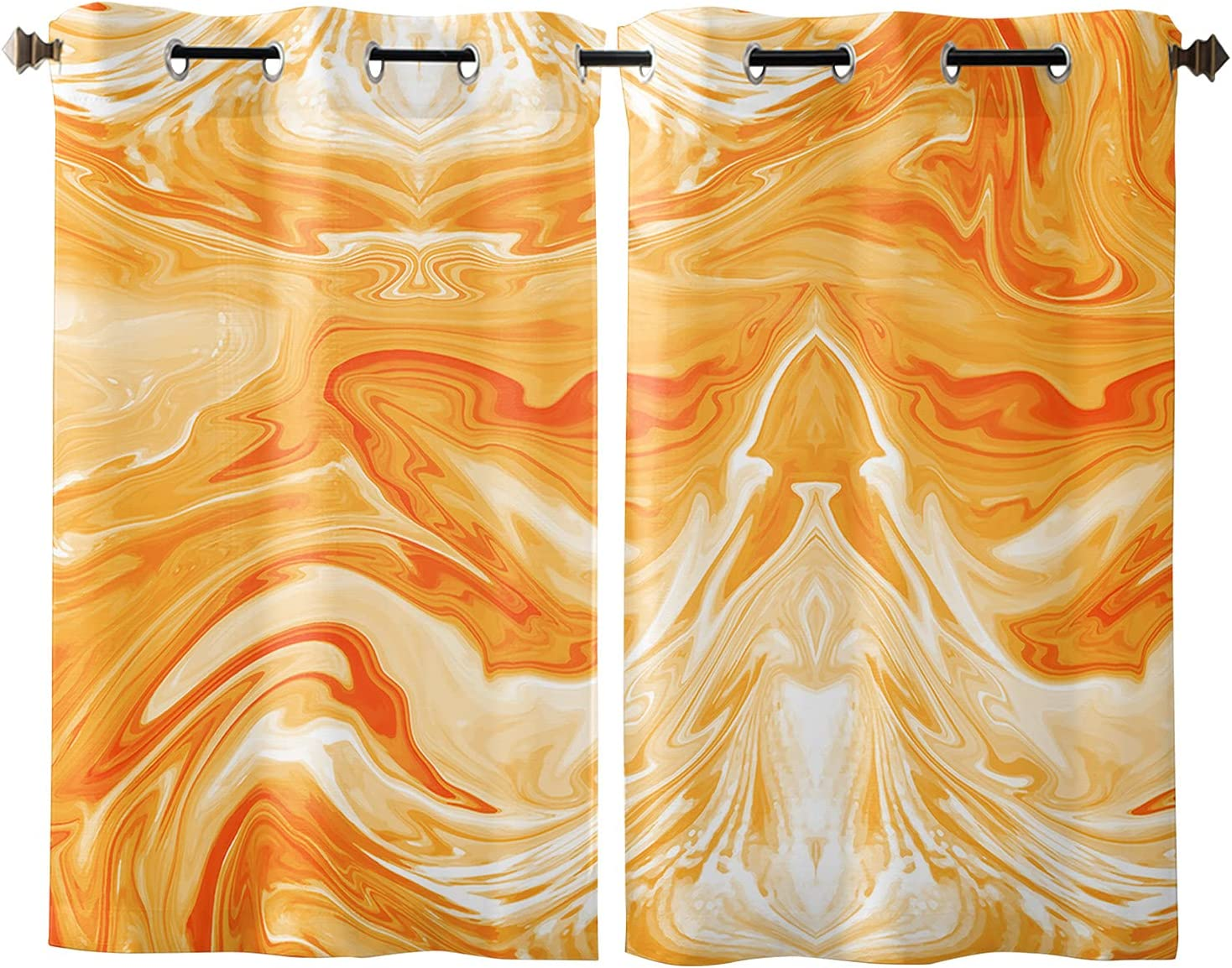 Window Curtains with Grommet Top 2021 new Marble Ombre Orange Sale price Pane