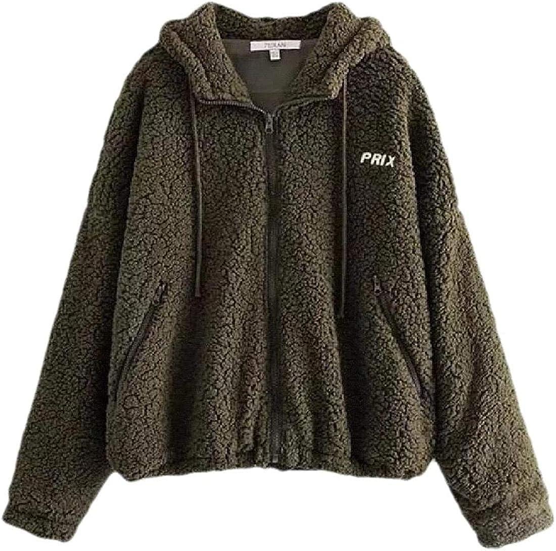 Andrea Spence Women Fashion Hooded Zip Up Faux Long Sleeve Faux Shearling Shearling Shaggy Coat Jacket