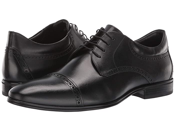 Roaring Twenties 20s Fashion Guide Massimo Matteo Cap Toe Brogue Classic Black Mens Shoes $89.00 AT vintagedancer.com