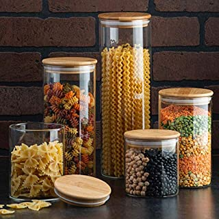 Canister Set of 5, Glass Kitchen Canisters with Airtight Bamboo Lid, Glass Storage Jars for Kitchen, Bathroom and Pantry O...