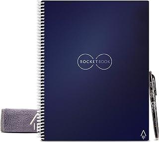 Rocketbook Cuaderno Digital Inteligente – Planificador Reutilizable Académico de Clase Para Profesores y Estudiantes Con Bolígrafo Frixion Pilot y Paño de Microfibra Incluido (Azul, Carta A4)