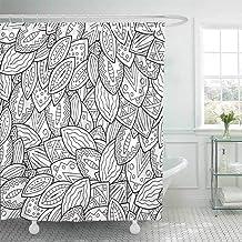 QAQ Starry sky Cortinas De Ducha Doodle Artístico para Colorear Libro para Colorear para Adultos Y Niños. Dibujo Abstracto Dibujo Ondulado Baño Decorativo, 150X180 Cm