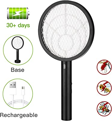 Electric Bug Zapper Fly Swatter Zap Mosquito for Indoor and Outdoor Pest Control, Powerful Grid, USB Rechargeable, LED Lighting w/Base, 3 Layers Mesh Safety Protection Safe to Touch