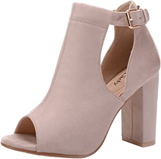 6e9e4fb1a2a8 FREE Shipping on eligible orders. Mila Lady Erin 7A Women s Laser Cut  Stacked Chunky Strappy Heel Peep Toe Bootie