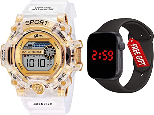 Brand A Digital Shockproof Multi Functional Automatic White Gold Waterproof Digital Sports Watch with FRE Square LED Watch for Men s Kids Watch for Boys Watch for Men Pack of 2