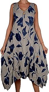 e551150e62759c Damen Pure Leinen Sommer zipfel Kleid Maxikleid Tunika 42 44 46 48 M L XL  XXL Grau