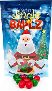 Santa's Jingle Bawlz | Cherry and Green Apple Fruit Chews Candy | Perfect Holiday Gift! (Single Bag)