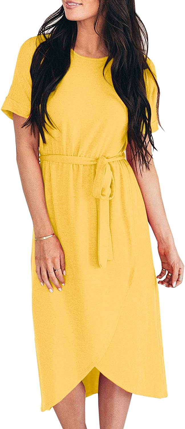 Imily Bela Womens Short Sleeve Shirt Dress Fit and Flare Summer Beach Midi with Belt