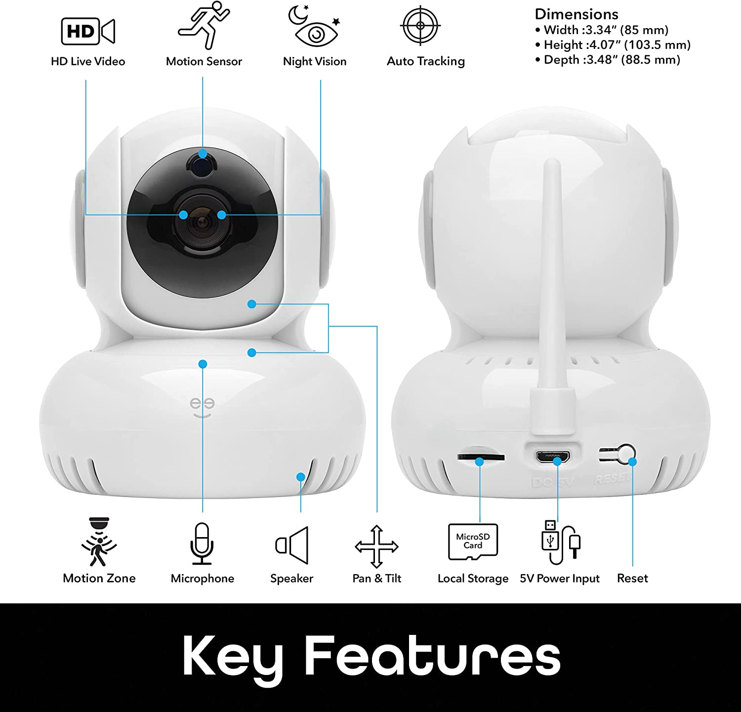 Geeni Sentinel 1080p Wireless Indoor Surveillance Camera with Auto Tracking Alerts, Motion Zones, Pan/Tilt/Zoom, 2-Way Talk, Night Vision, Works with Alexa and Google Home, (White)