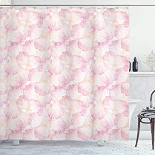 Ambesonne Pastel Shower Curtain, Soft Pink Flower Petals Watercolor Painting Style Rose Blossom Romantic Gentle, Cloth Fabric Bathroom Decor Set with Hooks, 70