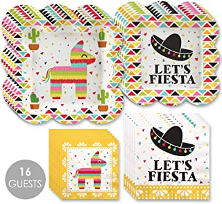 Big Dot of Happiness Let's Fiesta - Mexican Fiesta Tableware Plates and Napkins - Bundle for 16
