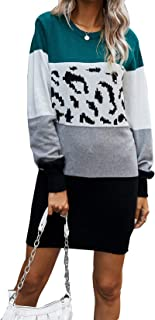 Vershow Women's Knitted Crewneck Long Sleeve Stitching Contrast Casual Pullover Sweater Dress