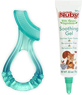 Nuby Natural Soothing Gel for Sore Gums with Bonus Silicone Massaging Toothbrush, 0.53 Ounce, Benzocaine Free, Belladonna Free