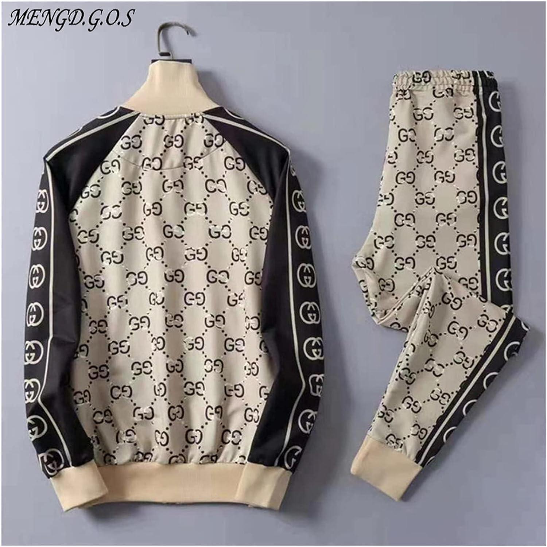 Jacket Streetwear Spring and Autumn New Men's Suit Jogger Brand Hip Hop Casual Men's Clothing Zipper Jacket Fashion Pants (Color : Khaki Suit, Size : XL(175 180))