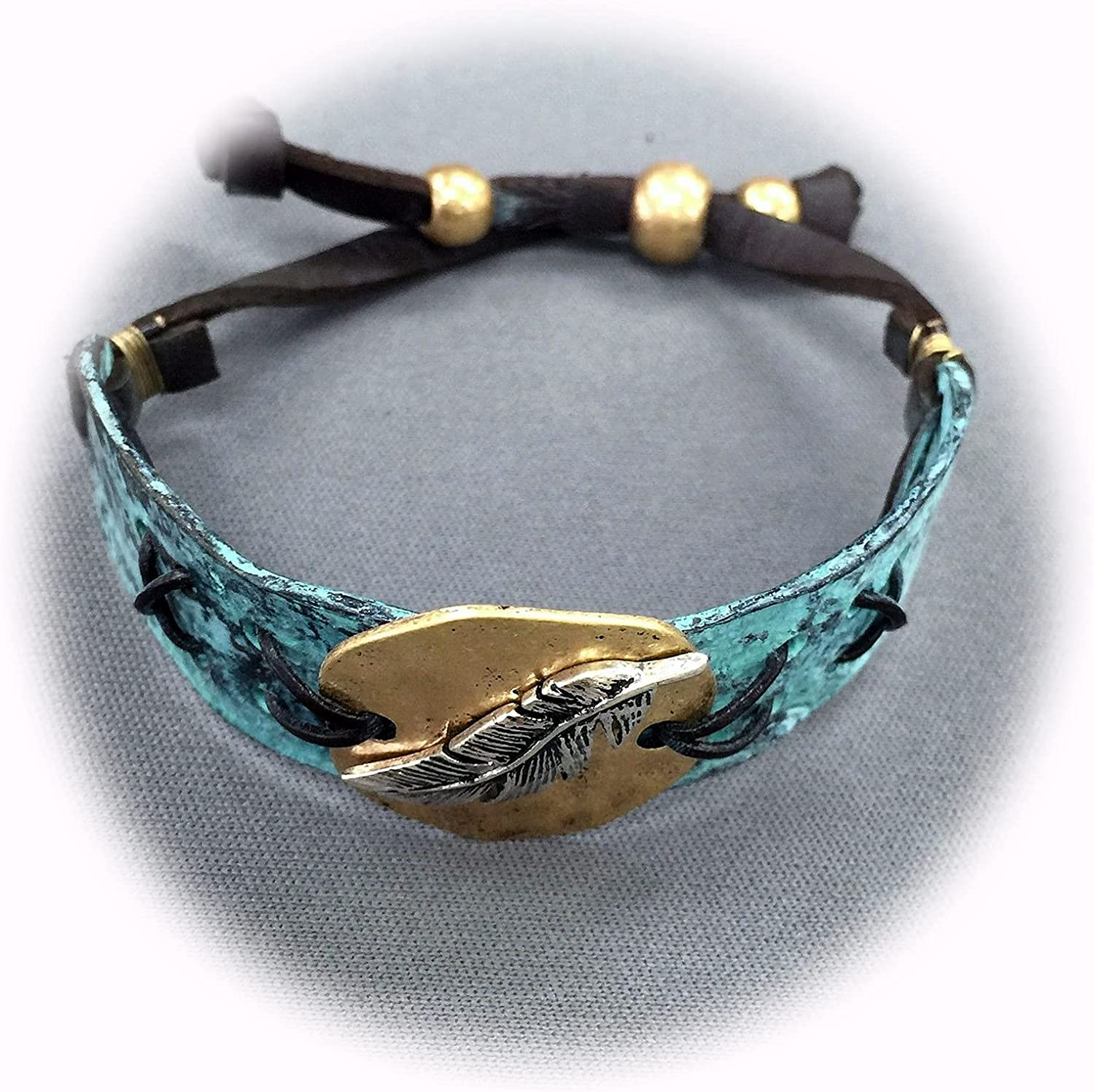 New Antique Max 69% OFF Max 52% OFF Metal Plate Hammered Feather Strap Leather Statement