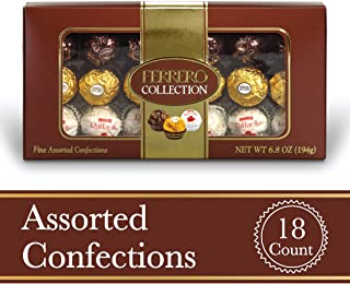 Ferrero Rocher Fine Hazelnut Milk Chocolates, 18 Count, Assorted Coconut Candy and Chocolate Gift Box, 6.8 oz