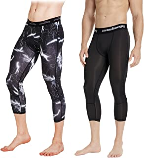 COOLOMG 2 Pack 3/4 Compression Pants Sports Tights 20+ Colors/Patterns Shorts Capri Pant for Men's Boys Basketball Running