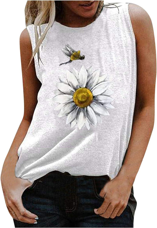 Summer Tops for Women,Women's Casual Summer Sleeveless Basic Sunflower Cute Printed Shirt Tank Tops Cami Top Tee
