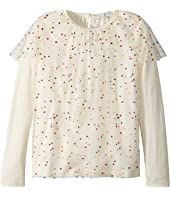 Stella McCartney Kids - Popcorn Ruffled Tulle Overlay Long Sleeve Top (Toddler/Little Kids/Big Kids)