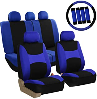 FH Group FB030BLUEBLACK-COMBO Seat Cover Combo Set with Steering Wheel Cover and Seat Belt Pad (Airbag Compatible and Split Bench Blue/Black)
