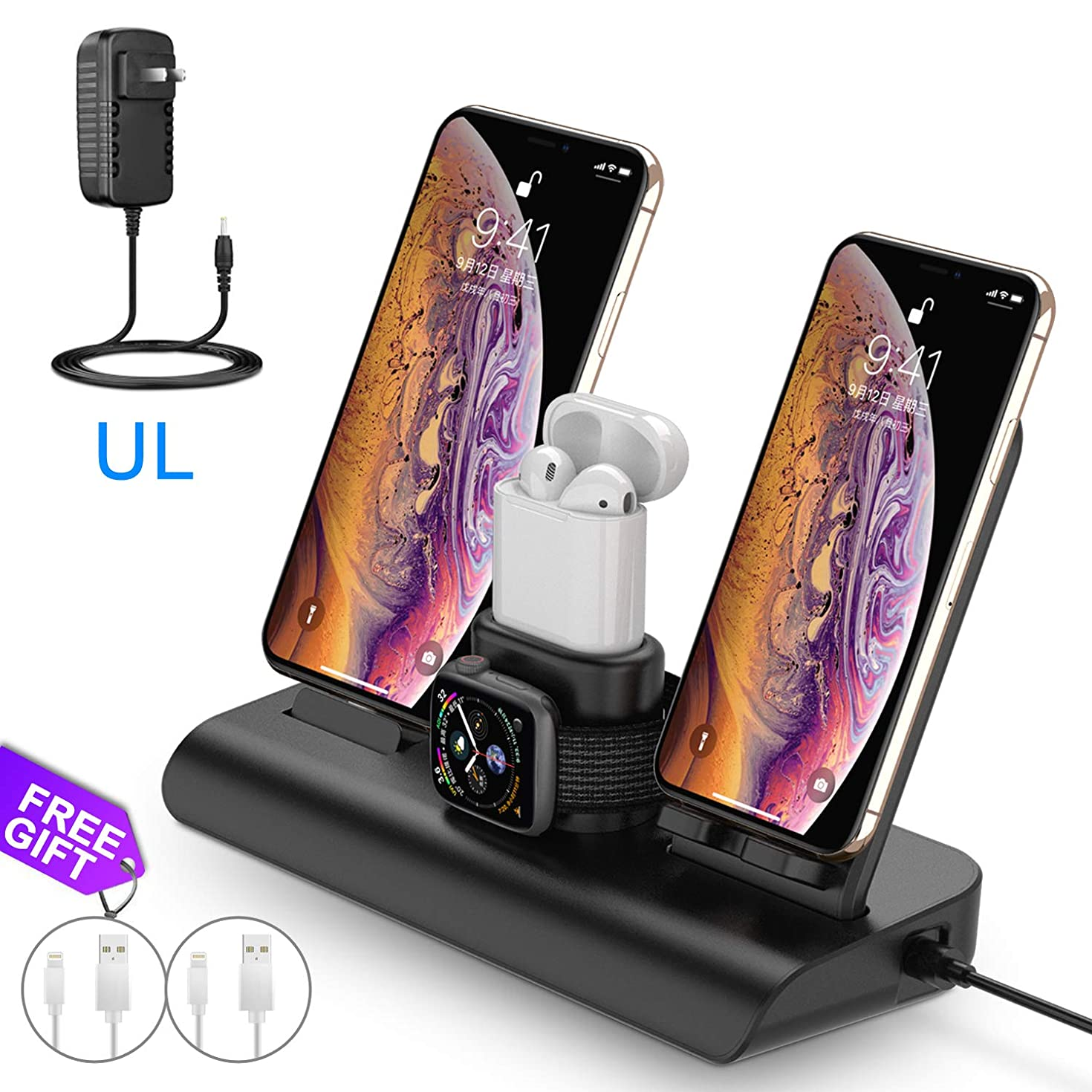 Wireless Charger for iPhone Charging Station for Apple, Wireless Charging Pad Stand for iPhone, Apple Watch Charging Stand with AirPods Charging Dock Wireless Charger for iPhone Xs XR X 8Plus