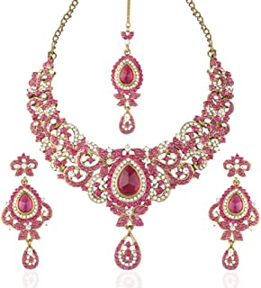 I Jewels Traditional Gold Plated Stone Necklace Set with maang tikka for Women(Rani/Dark Pink)(M4027Q)