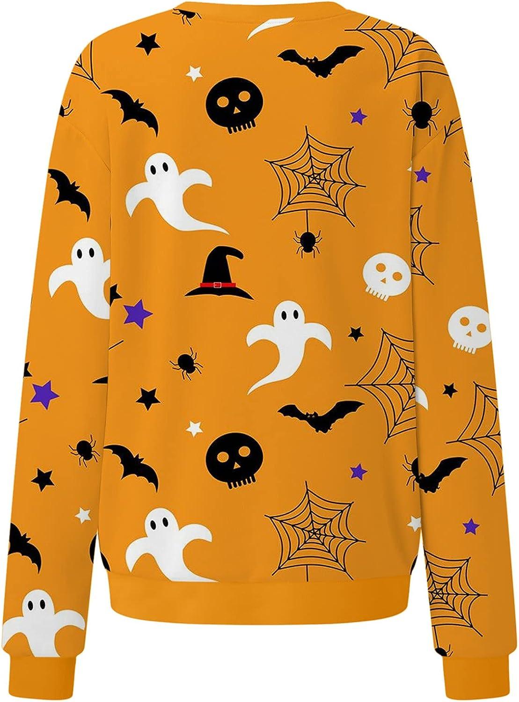 felwors Womens Halloween Sweatshirts, Womens Long Sleeve Pullover Tops Casual Sweater Pumpkin Halloween Costumes
