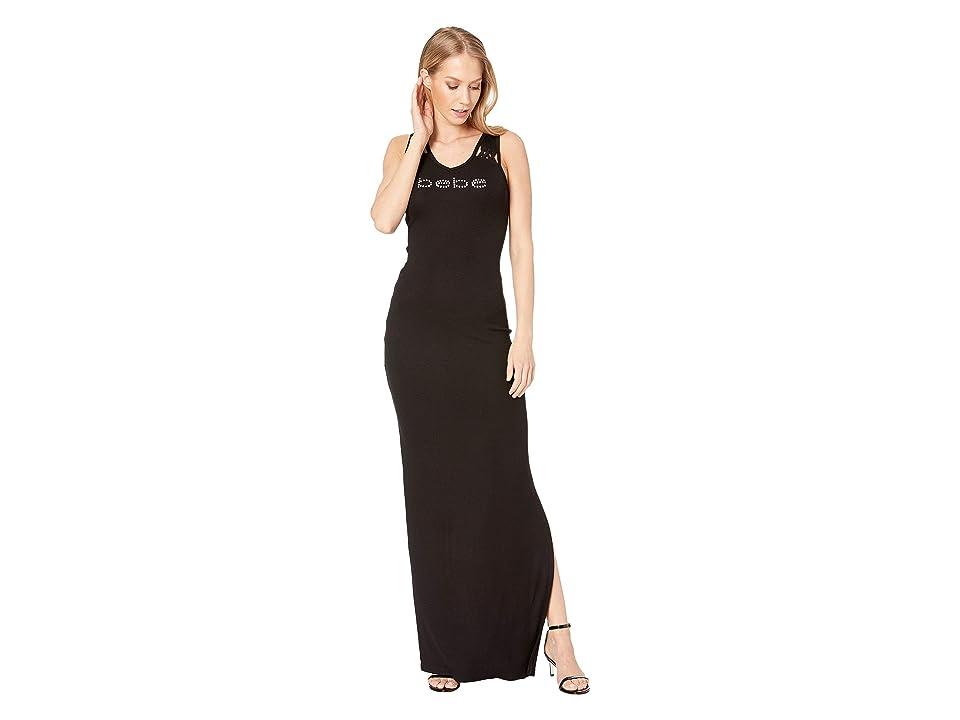 Bebe Lacing Detail Maxi Dress (Jet Black) Women