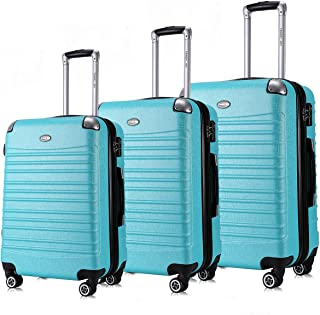 """Travel Joy Expandable Luggage Set, Suitcases TSA Lightweight Spinner Luggage Sets, Carry On Luggage (TURQUOISE, 3 pcs set(20""""24""""28""""))"""