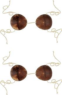 Beistle Coconut Bikini Tops 2 Piece, Brown/Off White