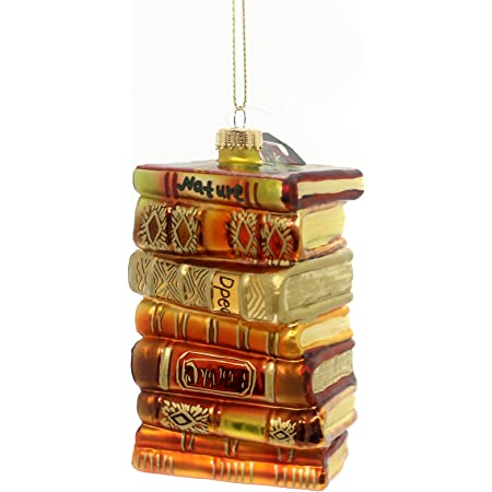 Krebs Designer Seamless Stack of Books Glass Figurine Holiday Ornament