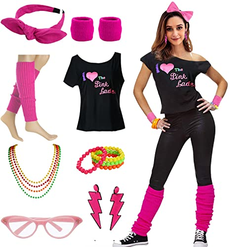 ef3863959f1 Women s I Love The Pink Ladies 50s T-Shirt Complete 50s 80s Costume Set