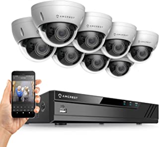 Amcrest 3MP Security Camera System, w/ 4K 16CH (8-Port PoE) NVR, (8) x 3-Megapixel 2.8mm Wide Angle Lens Weatherproof Metal Dome PoE IP Cameras, NV4116E-HS-IP3M-956EW8 (White)
