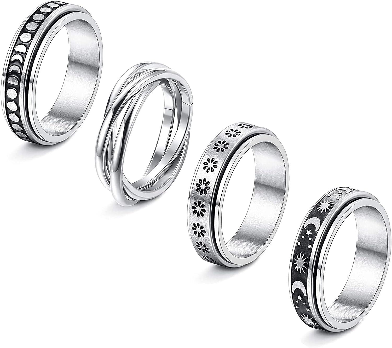 CASSIECA 4 Pcs Stainless Steel Fidget Rings for Women Mens Spinner Rings Flower Moon Star Cool Anxiety Rings Stress Relieving Wedding Promise Rings Set(Size 5-10)