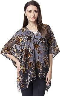 Velvety 100% Polyester Flower Pattern Sheer Poncho (One Size)(Orange&Brown/Yellow&Black/Pink&Plum)