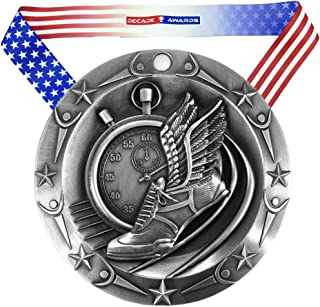 Decade Awards Track World Class Medal - 3 Inch Wide Medallion with Stars and Stripes American Flag V Neck Ribbon