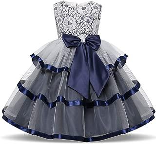 Girls Lace Applique Dress Birthday Wedding Party Princess Prom Dresses