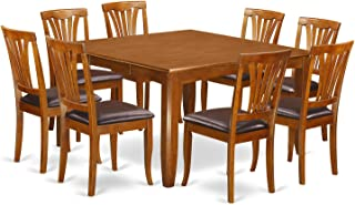 PFAV9-SBR-LC 9 Pc Dining room set-Table with Leaf and 8 Dining Chairs.