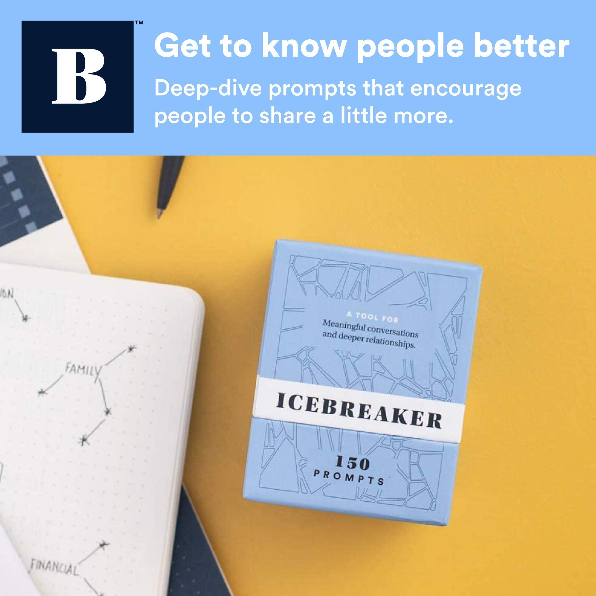 BestSelf Co Conversation Starter Icebreaker Deck Powerful Tool to Establish and Strengthen Relationships by Cultivating Open Engaging Deeper and Meaningful Interactions ― 150 Prompts