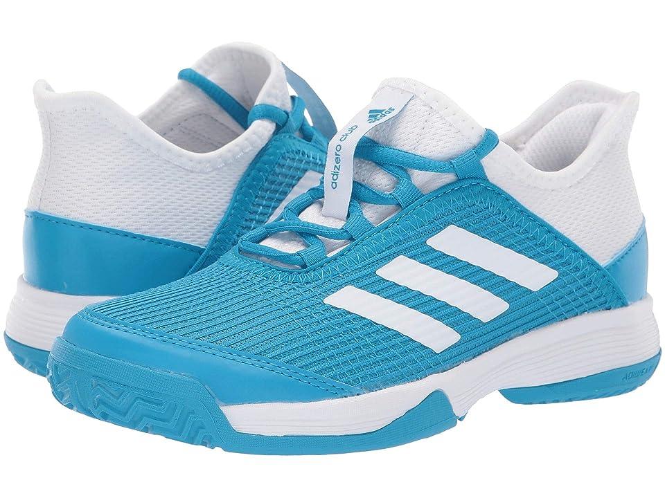 adidas Kids Adizero Club Tennis (Little Kid/Big Kid) (Shock Cyan/Footwear White/Footwear White) Kids Shoes