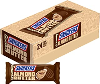 Creamy SNICKERS Almond Butter Singles Size Square Candy Bars, 24 Count Box, 33.60 Ounce