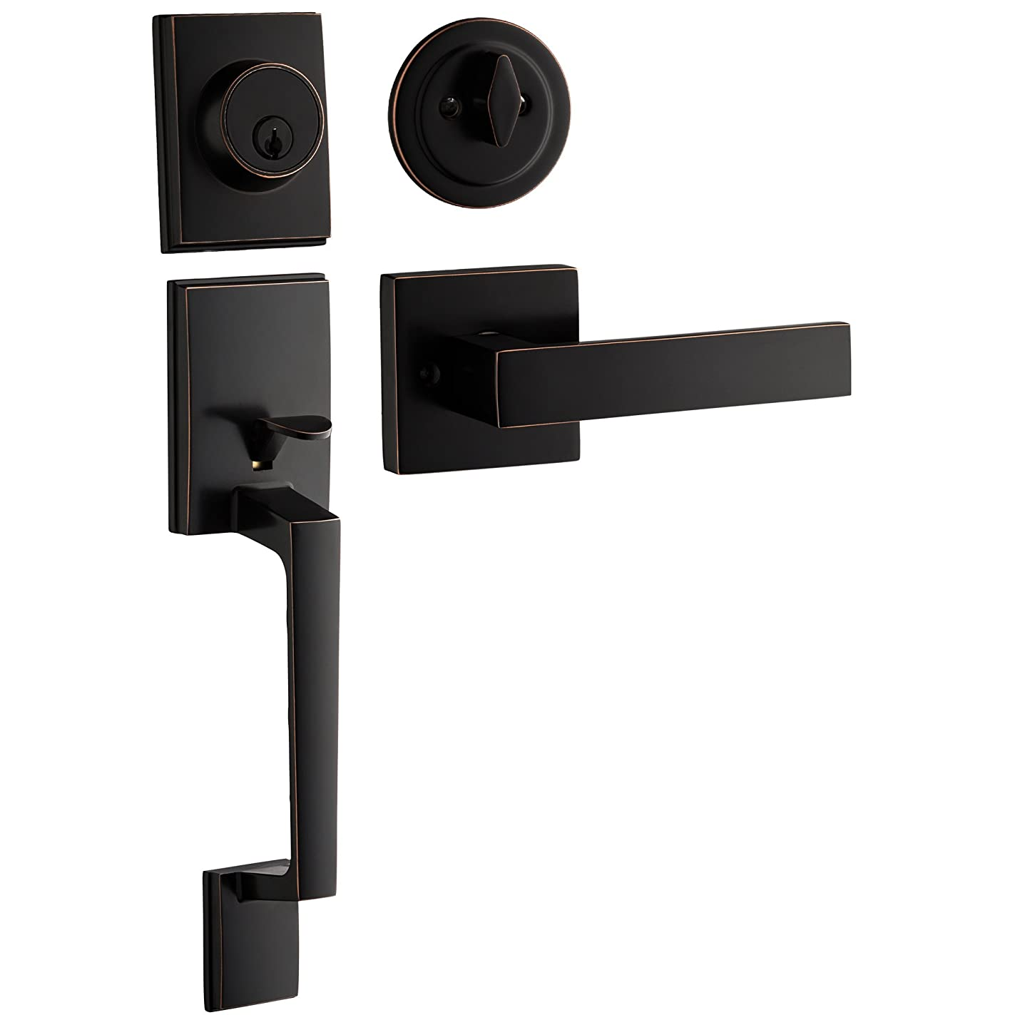 Berlin Modisch Single Cylinder HandleSet with Lever Door Handle (for Entrance and Front Door) Reversible for Right and Left Handed and a Single Cylinder deadbolt Handle Set Oil Rubbed Bronze Finish