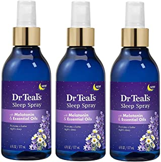 Dr. Teal's Sleep Spray with Melatonin & Essential Oils - 6 Ounce Bottles Pack of 3 - Night Time Therapy Formula with Chamo...
