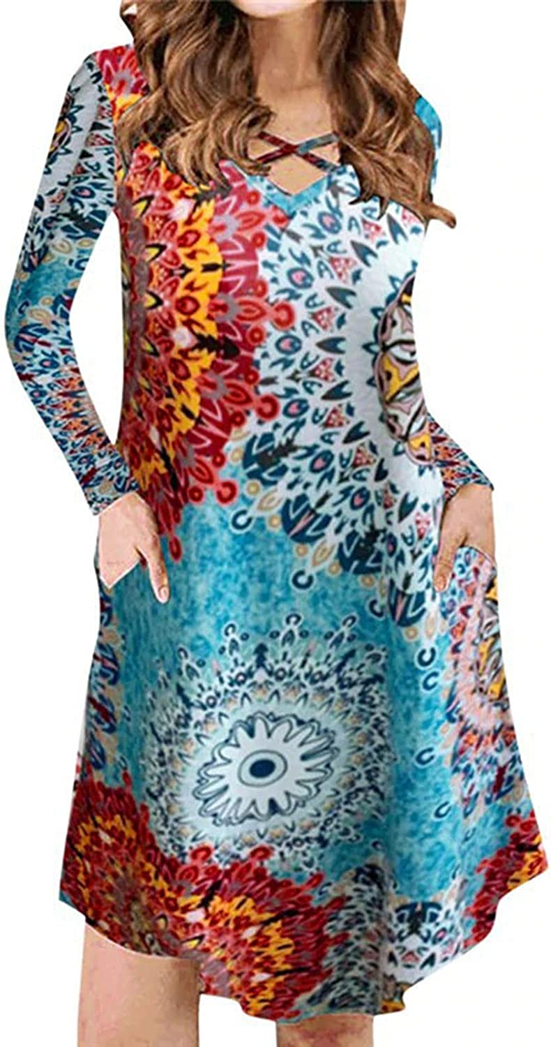 Casual Comfy Floral Long Sleeve Tunic Dress for Women V Neck Criss Cross Neckline Mini Dress with Pockets
