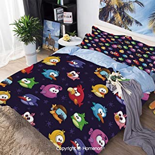 Bedding Sheets Set 3-Piece Bed Set,Angry Flying Birds Figure with Various Expressions Game Toy Kids Babyish Artsy Image,Full Size,Include 1 Quilt Cover+2 Pillow case,Multicolor