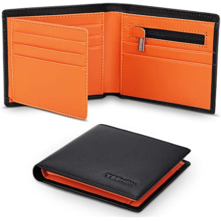 TEEHON® Wallets Mens Slim Genuine Leather RFID Blocking Wallet Mens with 11 Card Holder, 2 banknote compartments, Coin Pocket, ID Window, Minimalist Wallets for Men with Gift Box - Black and Orange