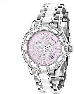 White Ceramic Womens Diamond Watch 1.25ctw of Diamonds by Luxurman Pink MOP Galaxy
