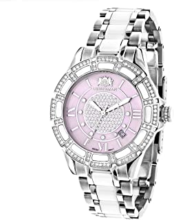 White Ceramic Womens Diamond Watch 1.25ctw of Diamonds by Luxurman Pink MOP Galaxy