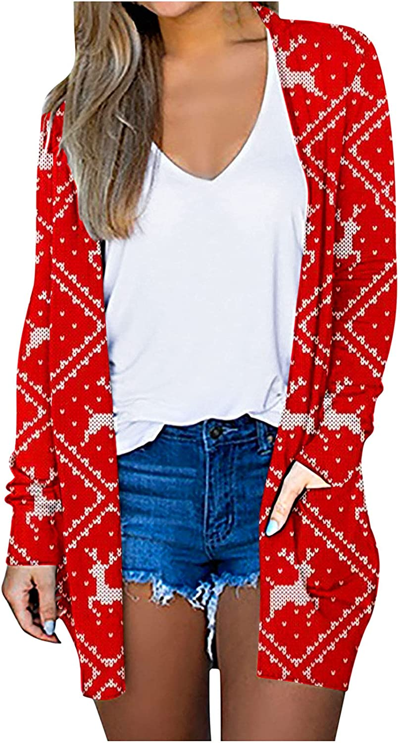 Christmas Cardigan for Women Fashion Printed Lightweight Outerwear Casual Long Sleeve Loose Autumn Coats